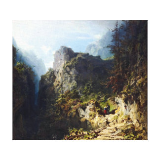 Carl Spitzweg Mountain Landscape with Lovers Canvas Print