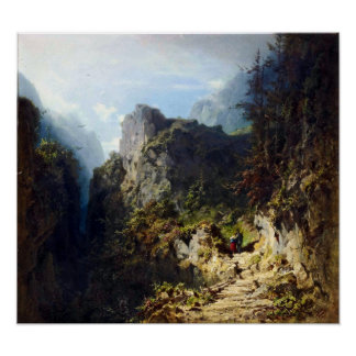 Carl Spitzweg Mountain Landscape with Lovers Poster