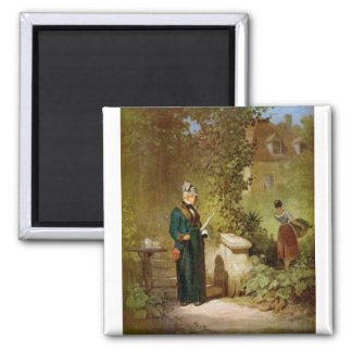 Carl Spitzweg - Newspaper Reader in the Garden Magnet