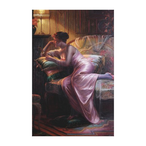 Carlier: Elegant Lady with Mirror Gallery Wrapped Canvas