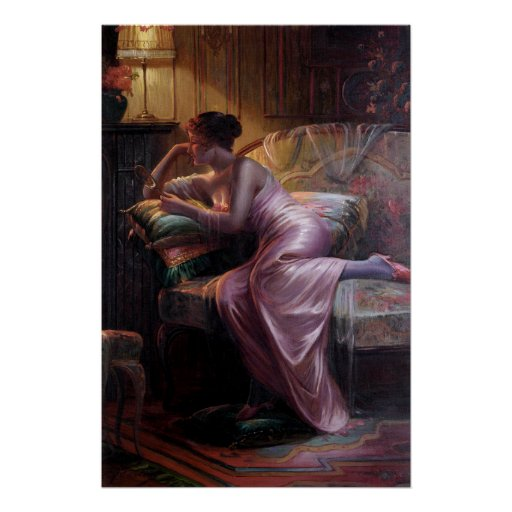 Carlier: Elegant Lady with Mirror Poster