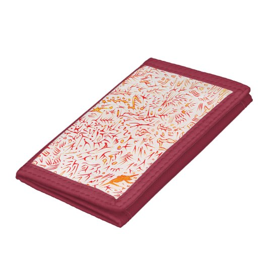 Carlos Red and White Tri-fold Wallets