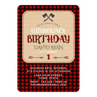 Carm Red Buffalo Plaid Birthday Any Age Invitation