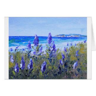 Carmel California, Beach, Lupins, Landscape Art Card