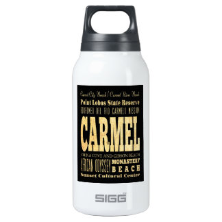 Carmel City of California Typography Art Insulated Water Bottle