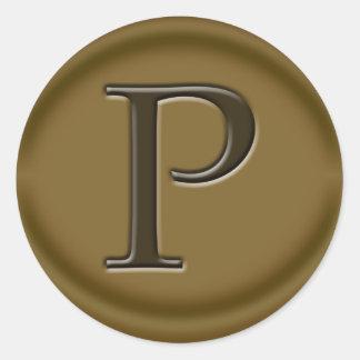 Carmel P Monogram Classic Round Sticker