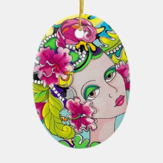 Carmen Mardi Gras Girl Ceramic Ornament