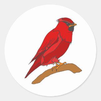 Carmine Cardinal Round Sticker