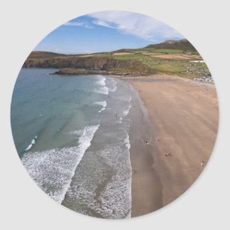 Carn Llidi and Whitesands Bay Wales Round Sticker