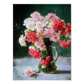 Carnation Flowers in a Vase by Emile Vernon Poster