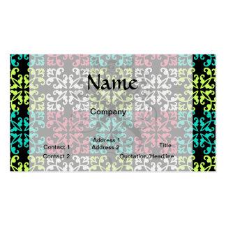 carnation pink lime aqua sweet damask squares business card