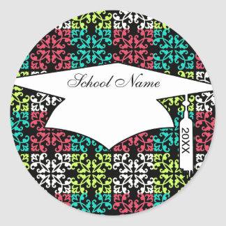 carnation pink lime aqua sweet damask squares classic round sticker