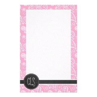 Carnation Pink Paisley; Vintage Chalkboard look Stationery Paper