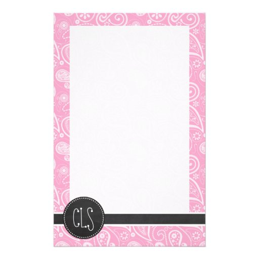 Carnation Pink Paisley; Vintage Chalkboard look Stationery Paper