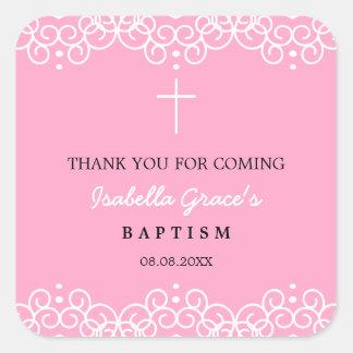 Carnation Pink & White   Baptism Thank You Square Sticker