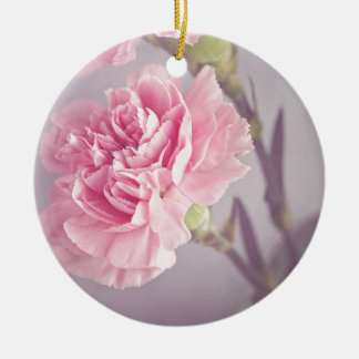carnation round ceramic ornament
