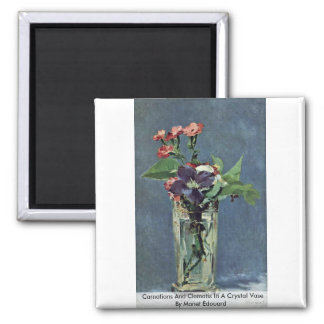 Carnations And Clematis In A Crystal Vase Fridge Magnet