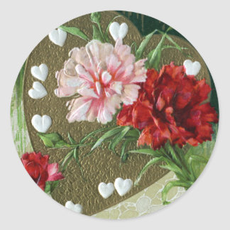 Carnations and Hearts Vintage Valentine Classic Round Sticker