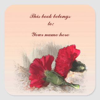 Carnations Bookplate Square Sticker