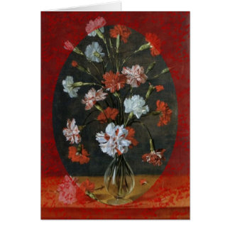 Carnations In A Glass Vase Card