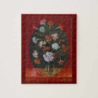 Carnations In A Glass Vase Jigsaw Puzzle