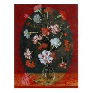 Carnations In A Glass Vase Postcard