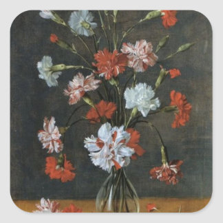 Carnations In A Glass Vase Square Sticker