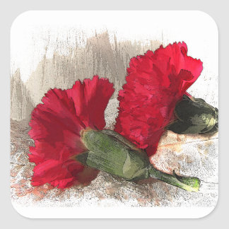 Carnations on Brocade Square Sticker
