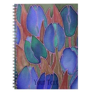 Carnet à spirale de journal de tulipes bleues