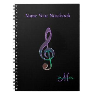 Carnet coloré personnalisé de clef de musique