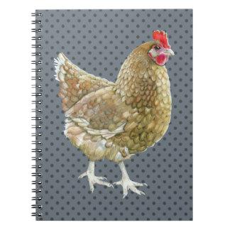 Carnet illustré de poulet de point de polka