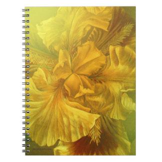 Carnet jaune floral de beaux-arts d'iris