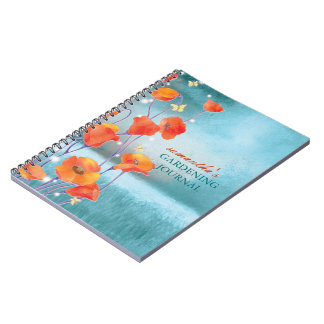 Carnets de jardinage de journal de pavot rouge de