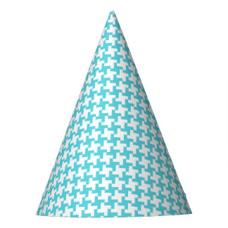 Carnival Aqua Houndstooth Party Hat