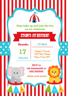 Carnival Birthday Party Invitations Circus