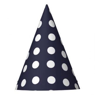 Carnival Blue Back Large White Dots Party Hat