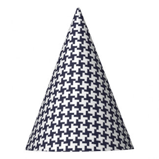 Carnival Blue Houndstooth Party Hat