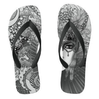 Carnival cat in black and white flop flops flip flops