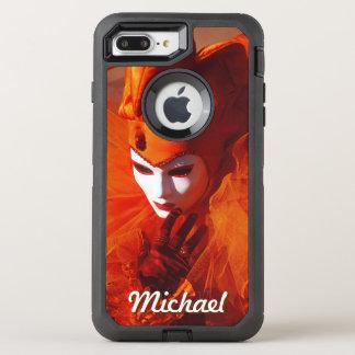 Carnival Character in Orange Harlequin Costume OtterBox Defender iPhone 8 Plus/7 Plus Case