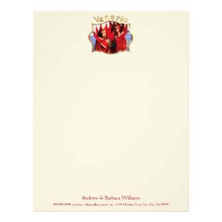 Carnival Characters in Red Costumes Personalized Letterhead
