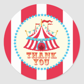 Carnival, Circus Tent, Thank You Sticker