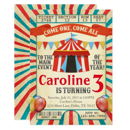 Carnival Circus Ticket Birthday Party Invitation