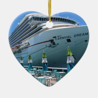 Carnival Dream in Key West Ceramic Heart Ornament