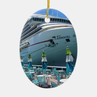 Carnival Dream in Key West Ceramic Oval Ornament