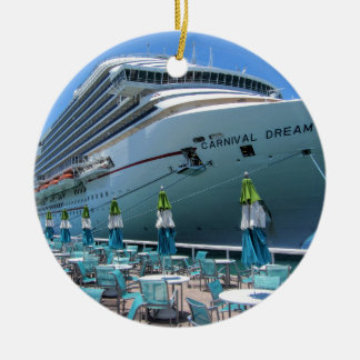 Carnival Dream in Key West Round Ceramic Ornament