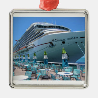 Carnival Dream in Key West Silver-Colored Square Ornament
