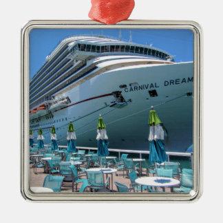 Carnival Dream in Key West Silver-Colored Square Ornament