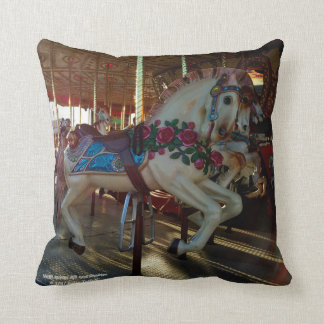Carnival Fair Carousel Horse Photo Throw Pillow