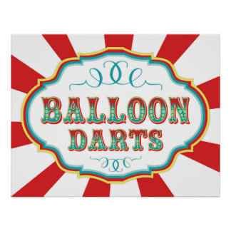 Carnival Game Sign Balloon Darts