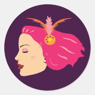 Carnival Girl Classic Round Sticker